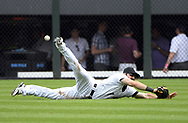 CHICAGO - JUNE 18:  Adam Eaton #1 of the Chicago White Sox dives but cannot catch the ball against the San Francisco Giants on June 18, 2014 at U.S. Cellular Field in Chicago, Illinois.  (Photo by Ron Vesely)