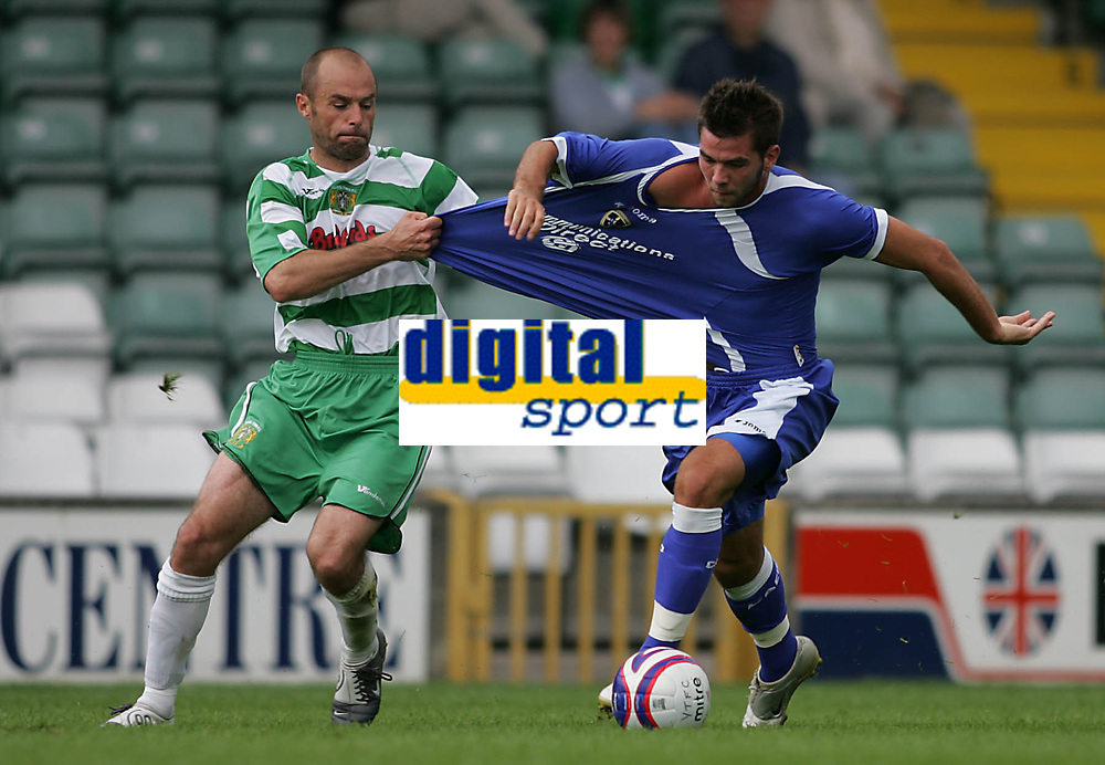 Photo: Lee Earle.<br /> Yeovil Town v Cardiff City. Pre Season Friendly. 21/07/2007.Cardiff's joe Ledley (R) battles with Paul Warne.