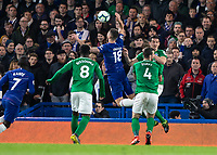 Football - 2018 / 2019 Premier League - Chelsea vs. Brighton & Hove Albion<br /> <br /> Oliver Giroud (Chelsea FC)  reacts theatrically after feeling an arm in his back at Stamford Bridge <br /> <br /> COLORSPORT/DANIEL BEARHAM