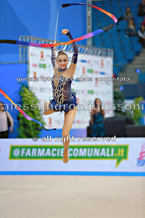 Durunda Marina during final at ribbon in Pesaro World Cup 12 April 2015.<br /> Marina is a Azerbaijani individual rhythmic gymnast of Ukrainian origin, she born on June 12, 1997 in Sevastopol.