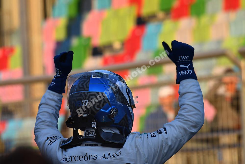 Valtteri Bottas (Mercedes) celebrates after qualifying for the 2019 Azerbaijan Grand Prix in Baku. Photo: Grand Prix Photo