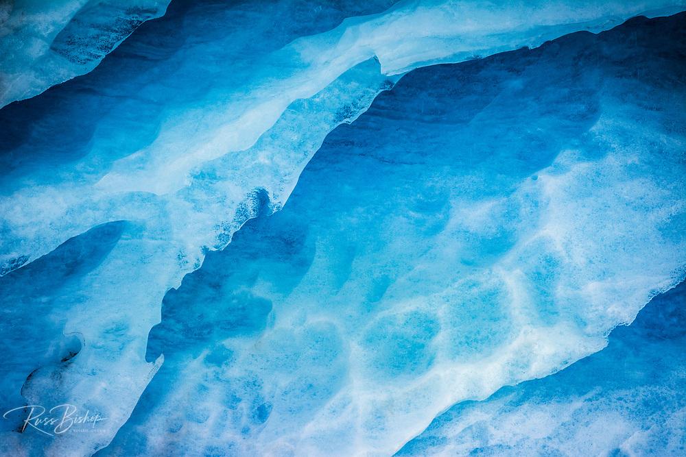Blue ice detail on the Athabasca Glacier, Jasper National Park, Alberta, Canada
