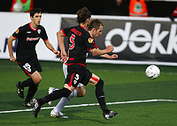 Football<br /> UEFA Europa League 2009<br /> Tromsø v Athletic Bilbao<br /> 27.08.2009<br /> Foto: Tom Benjaminsen, Digitalsport<br /> <br /> Morten Moldskred, Tromsø<br /> Amorebieta, Athletico Bilbao<br /> Iraola, Athletico Bilbao