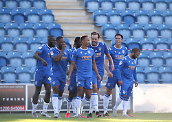 Cohen Bramall (3) of Colchester United celebrates scoring to make it 1-0 - Mandatory by-line: Arron Gent/JMP - 18/06/2020 - FOOTBALL - JobServe Community Stadium - Colchester, England - Colchester United v Exeter City - Sky Bet League Two Play-off 1st Leg