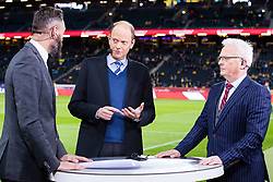 November 20, 2018 - Stockholm, SVERIGE - 181120 Olof Lundh, Lasse Granqvist and Hasse Backe of Cmore a head of the Nations League football match between Sweden and Russia on November 20, 2018 in Stockholm. (Credit Image: © Andreas L Eriksson/Bildbyran via ZUMA Press)