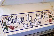 Enamel sign: restaurant Bodega la Guineu. Sitges, Catalonia, Spain