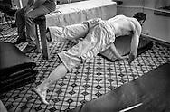 Stanislav Kocba exercises at the AIS Rehabilitation Center for war veterans, Sukhumi. 2003.