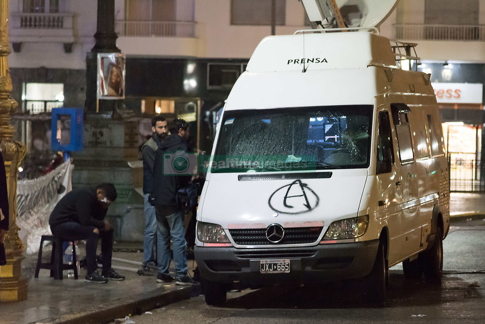August 7, 2017 - Buenos Aires, Argentina - Aug 7, 2017 - Buenos Aires, Argentina - A violent group that broke away from a demonstration in front of the National Congress that asked for the appearance of Santiago Maldonado attacked to blows, stones and Molotov bombs to police officers and to journalists. (Credit Image: © Maximiliano Javier Ramos via ZUMA Wire)