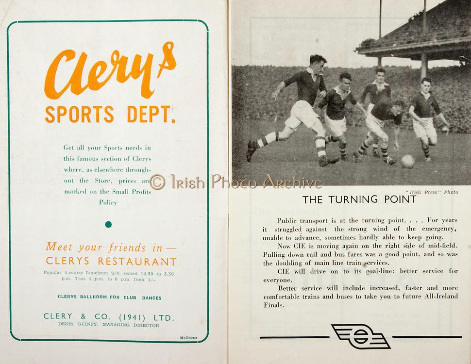 All Ireland Senior Hurling Championship Final,.Brochures,.01.09.1946, 09.01.1946, 1st September 1946, .Cork 7-5, Kilkenny 3-8, .Minor Dublin v Tipperary.Senior Cork v Kilkenny.Croke Park, ..Advertisements, Clery's Sports Dept, ..Articles, The Turning Point,