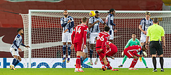 LIVERPOOL, ENGLAND - Sunday, December 27, 2020: Liverpool's Trent Alexander-Arnold takes a free-kick during the FA Premier League match between Liverpool FC and West Bromwich Albion FC at Anfield. The game ended in a 1-1 draw. (Pic by David Rawcliffe/Propaganda)