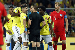 (l-r) Radamel Falcao Garcia of Colombia, referee Mark Geiger, Carlos Sanchez of Colombia, Harry Kane of England during the 2018 FIFA World Cup Russia round of 16 match between Columbia and England at the Spartak stadium  on July 03, 2018 in Moscow, Russia