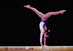 Aug. 24, 2018 - Jakarta, Indonesia - ZHANG JIN of China competes during the Artistic Gymnastics Women's Balance Beam Final at the 18th Asian Games in Jakarta. (Credit Image: © Li Xiang/Xinhua via ZUMA Wire)