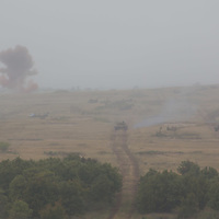 Hungarian tanks participate in a joint Hungarian-US military exercise near Osku village (about 92 km South-West of capital city Budapest), Hungary on October 02, 2014. ATTILA VOLGYI