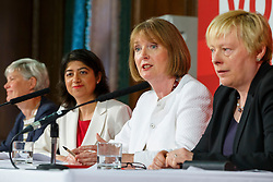 © Licensed to London News Pictures. 24/05/2016. London, UK. Labour Party's prominent female figureheads Shadow Minister for Women and Equalities KATE GREEN,  Shadow Chief Secretary to the Treasury SEEMA MALHOTRA, former Labour leader HARRIET HARMAN and Shadow Business Secretary ANGELA EAGLE speak to set out why women are better off in European Union at Church House in London on Tuesday, 24 May 2016. Photo credit: Tolga Akmen/LNP