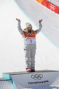 Chloe Kim, USA, during the womens halfpipe final at the Pyeongchang Winter Olympics on 13th February 2018 at Phoenix Snow Park in South Korea