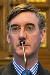 © Licensed to London News Pictures . 02/10/2017. Manchester, UK. JACOB REES-MOGG at a fringe , right-wing Bruges Group event at Manchester Town Hall during the second day of the Conservative Party Conference at the Manchester Central Convention Centre . Photo credit: Joel Goodman/LNP