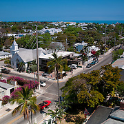 Key West panorama with Whitehead street and Newman Methodist church