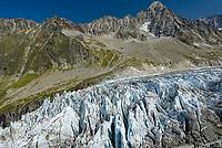 The 3,824m (12,545 ft)  Aiguille du Chardonnet Argentière towers above the Argentière Glacier. Part of the Mont Blanc Massif, the glacier is 9km long.