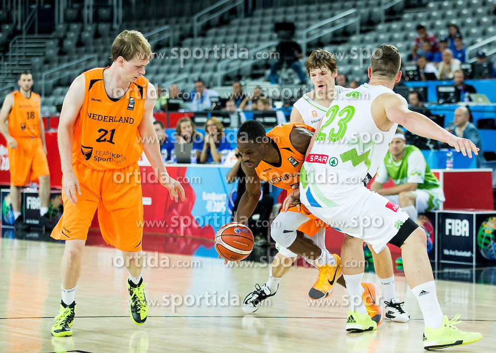 Charlon Kloof of Netherlands between Jaka Klobucar of Slovenia and Alen Omic of Slovenia during basketball match between Slovenia vs Netherlands at Day 4 in Group C of FIBA Europe Eurobasket 2015, on September 8, 2015, in Arena Zagreb, Croatia. Photo by Vid Ponikvar / Sportida
