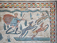 Close up detail picture of the Roman mosaics of the small hunt depicting dogs chasing a fox, room no 24 at the Villa Romana del Casale, first quarter of the 4th century AD. Sicily, Italy. A UNESCO World Heritage Site.<br /> <br /> The Small Hunt room was used as a living room for guests of the Villa Romana del Casale. The Small hunt mosaic design has 4 registers running across the mosaic depicting hunting scenes. In the first register two servants are handling hunting dogs. In the second register figures are depicted burning incense at an altar to Diana, the goddess of hunting, before the hunt starts. The offering is being made by Constantius Clorus , the Caesar of Emperor Maximianus who owned the Villa Romana del Casale. Behind him is his son the future Emperor Constantine. To the right of the altar is a figure holding the reins of a horse dressed in a clavi decorated with ivy leaves indicating that he belongs to the family of Maximianus. .<br /> <br /> If you prefer to buy from our ALAMY PHOTO LIBRARY  Collection visit : https://www.alamy.com/portfolio/paul-williams-funkystock/villaromanadelcasale.html<br /> Visit our ROMAN MOSAICS  PHOTO COLLECTIONS for more photos to buy as buy as wall art prints https://funkystock.photoshelter.com/gallery/Roman-Mosaics-Roman-Mosaic-Pictures-Photos-and-Images-Fotos/G00008dLtP71H_yc/C0000q_tZnliJD08