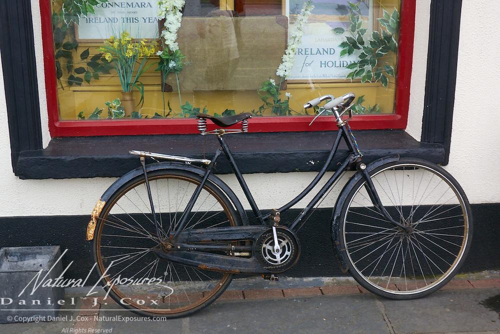A bike on main street in little village of Lahardane, Ireland