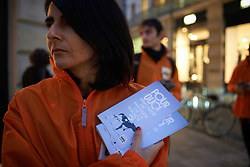 October 31, 2018 - France - A woman from L214 has leaflets reading 'Why refuse to eat meat ?'. For Halloween, protesters of the association L214 demonstrated in Toulouse because, as they said, 'It's Halloween every day for livestock'. The L214 association became famous for its numerous films made in slaughterhouses. Their films depicted torture and abuse of livestock in some slaughterhouses. Toulouse. France. October 31st 2018. (Credit Image: © Alain Pitton/NurPhoto via ZUMA Press)