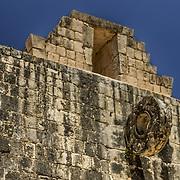 North America, Latin America, Latin, Caribbean, tropical, Mexico, Yucatan, Chichen Itza, Xchen Itza, Maya, Mayan, UNESCO World Heritage Site, <br />  Ancient Mayan Ball court at Chichen Itza, Mexico.