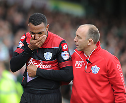 Queen Park Rangers' Matt Phillips walks off the picth holding his face after a clash with Yeovil Town's Jamie McAllister - Photo mandatory by-line: Alex James/JMP - Tel: Mobile: 07966 386802 21/09/2013 - SPORT - FOOTBALL - Huish Park - Yeovil - Yeovil Town V Queens Park Rangers - Sky Bet Championship