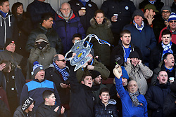 Leicester fans with a home made FA Cup trophy
