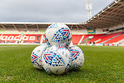 The practice balls are piled up awaiting the arrival of the players at Keepmoat Stadium ahead of the EFL Sky Bet League 1 match between Doncaster Rovers and Accrington Stanley at the Keepmoat Stadium, Doncaster, England on 21 December 2019.