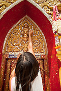06 APRIL 2010 - THAT PHANOM, THAILAND: A woman applies a piece of gold leaf to a door at Wat That Phanom in That Phanom, Thailand. The temple is one of the most sacred in Thailand, local legend says the Buddha's breast bone is in the temple. The temple was originally built in the 6th century AD and assumed its current form in the 15th century when the area was ruled by Lao Kings. The centerpiece of the temple is a 57 meter tall That, or Lao style chedi which is covered with 110 kilos of gold.    PHOTO BY JACK KURTZ