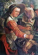 Market Scene' (detail), 1574. Oil on wood. Joachim Beuckelar (1533-1574)  Flemish painter. Peasant woman in broad-brimmed hat, apron over red dress, with eggs and chickens for sale.  Trade Commerce Poultry Food