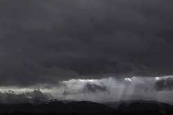 storm clouds over the Santa Fe Mountains in Santa Fe, New Mexico