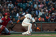 San Francisco Giants center fielder Denard Span (2) chops at a Cincinnati Reds pitch at AT&T Park in San Francisco, California, on May 11, 2017. (Stan Olszewski/Special to S.F. Examiner)