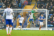 Portsmouth Goalkeeper, David Forde (1) attempts a catch from a cross during the EFL Sky Bet League 2 match between Portsmouth and Mansfield Town at Fratton Park, Portsmouth, England on 12 November 2016. Photo by Adam Rivers.