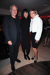 Left to right, DAVID GILMOUR, POLLY SAMSON and PENNY SMITH at the Costa Book Awards 2009 held at Quaglino's, 16 Bury Street, London SW1 on 26th January 2010.