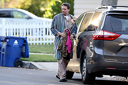 EXCLUSIVE: Alexis Denisof drops off his kids dressed up as a 'Dad' for halloween. 31 Oct 2018 Pictured: Alexis Denisof. Photo credit: MB / MEGA TheMegaAgency.com +1 888 505 6342