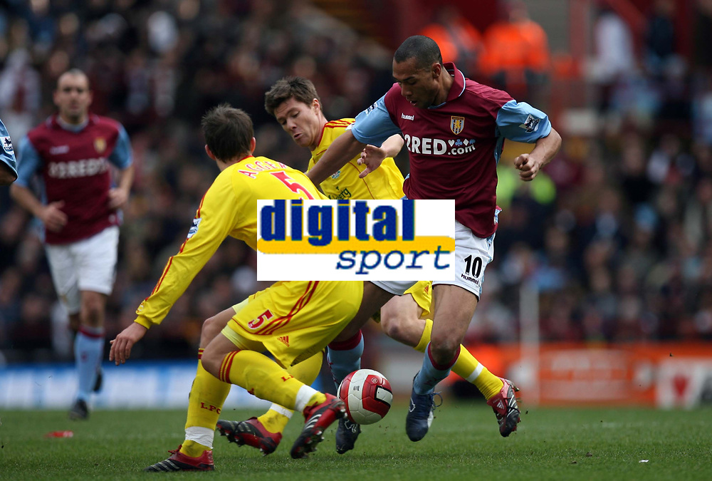 Photo: Rich Eaton.<br /> <br /> Aston Villa v Liverpool. The Barclays Premiership. 18/03/2007. John Carew, left of Aston Villa can find no way through the Liverpool defence