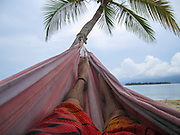 Panama, tourist's feet in a Hammock on a beach