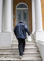 © Licensed to London News Pictures. 16/06/2019. London, UK. An Uber Eats food delivery arrives at the home Conservative Party leadership candidate Boris Johnson and his partner Carrie Symonds in south London. All candidates in the leadership race, except Boris Johnson, will appear on a leadership debate TV programme on Channel 4 this evening. Photo credit: Peter Macdiarmid/LNP