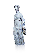 Statue of Artemis, found at the 'House of Diadoumenos' on Delos. Pariam marble, Circa 100 BC. Athens Archaeological Museum, Cat No 1829. Against white, <br /> <br /> Artemis wears a chiton, a girt and himation. The diagonal strap ocross her breast will have held the quiver full of arrows. The Goddess's beauty is stressed by her elaborate coiffure. .<br /> <br /> If you prefer to buy from our ALAMY STOCK LIBRARY page at https://www.alamy.com/portfolio/paul-williams-funkystock/greco-roman-sculptures.html . Type -    Athens    - into LOWER SEARCH WITHIN GALLERY box - Refine search by adding a subject, place, background colour, etc.<br /> <br /> Visit our ROMAN WORLD PHOTO COLLECTIONS for more photos to download or buy as wall art prints https://funkystock.photoshelter.com/gallery-collection/The-Romans-Art-Artefacts-Antiquities-Historic-Sites-Pictures-Images/C0000r2uLJJo9_s0