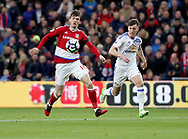 Marten de Roon of Middlesbrough in action with Billy Jones of Sunderland during the English Premier League match at Riverside Stadium, Middlesbrough. Picture date: April 26th, 2017. Pic credit should read: Jamie Tyerman/Sportimage