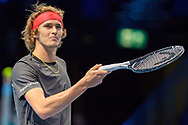 Alexander 'Sasha' Zverev of Germany smiles  during the Nitto ATP World Tour Finals at the O2 Arena, London, United Kingdom on 16 November 2018. Photo by Martin Cole