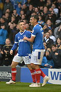 Portsmouth Players Celebrate Portsmouth Midfielder, Gary Roberts (11) celebrates after scoring a goal 1-0 during the EFL Sky Bet League 2 match between Portsmouth and Mansfield Town at Fratton Park, Portsmouth, England on 12 November 2016. Photo by Adam Rivers.