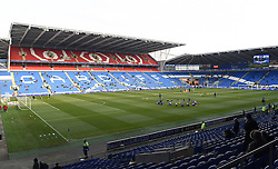 Player warm-up at Cardiff City Stadium ahead of the Sky Bet Championship match between Cardiff City and Preston North End on 27 February 2016 in Cardiff, Wales - Mandatory by-line: Paul Knight/JMP - Mobile: 07966 386802 - 27/02/2016 -  FOOTBALL - Cardiff City Stadium - Cardiff, Wales -  Cardiff City v Preston North End - Sky Bet Championship