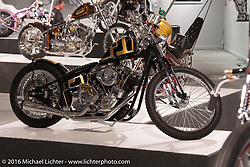 Kevin Baas' Brass Monkey 98ci Harley Davidson Shovelhead on a Paughco frame in Michael Lichter's Skin & Bones tattoo inspired Motorcycles as Art Exhibition at the Buffalo Chip Gallery during the annual Sturgis Black Hills Motorcycle Rally. SD, USA. August 10, 2016. Photography ©2016 Michael Lichter.