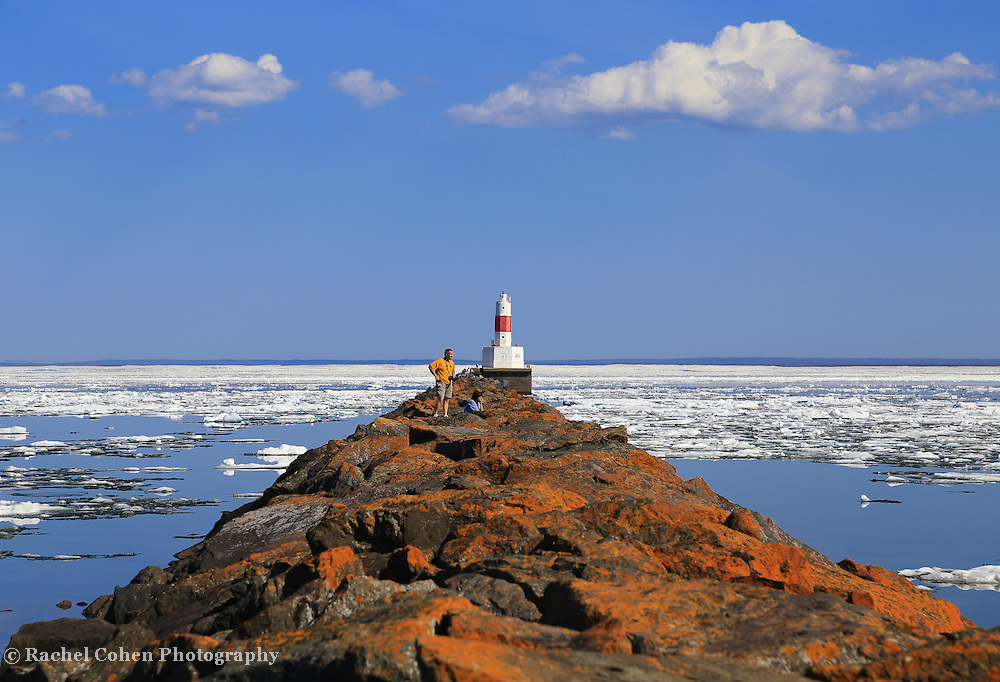 """""""Spring on Ice""""<br /> <br /> Scenic Marquette Michigan on a beautiful late spring day with icebergs still afloat on Lake Superior at Presque Isle Harbor!"""