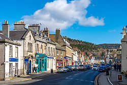 View of High Street in Peebles, Scottish Border, Scotland, UK