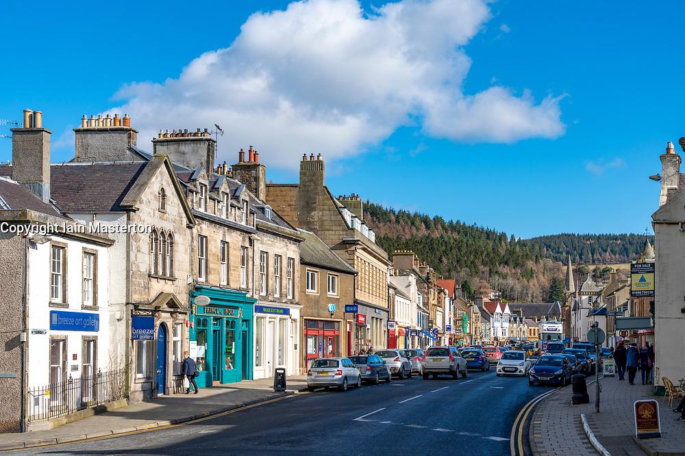 View of High Street in Peebles, Scottish Border, Scotland, UK