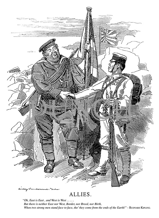 """Allies. """"Oh, East is East, and West is West.....But there is neither East nor West, Border, nor Breed, nor Birth, When two strong men stand face to face, tho' they come from the ends of the Earth!"""" - Rudyard Kipling."""